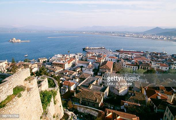 The bay in front of the fortified citadel of Acronafplia left the Bourtzi island with Castel da Mar 15th century Nafplion Greece
