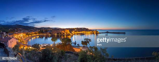 the bay of collioure at blue hour - famous historic village in south of france (languedoc-roussillon) - collioure photos et images de collection