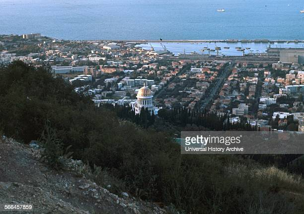 The Bay of Haifa and Shrine of the Bab Haifa Israel Palestine Dated 1930