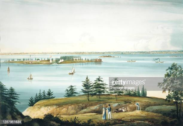 The Bay of New York and Governors Island Taken from Brooklyn Heights 182025 Artist William Guy Wall