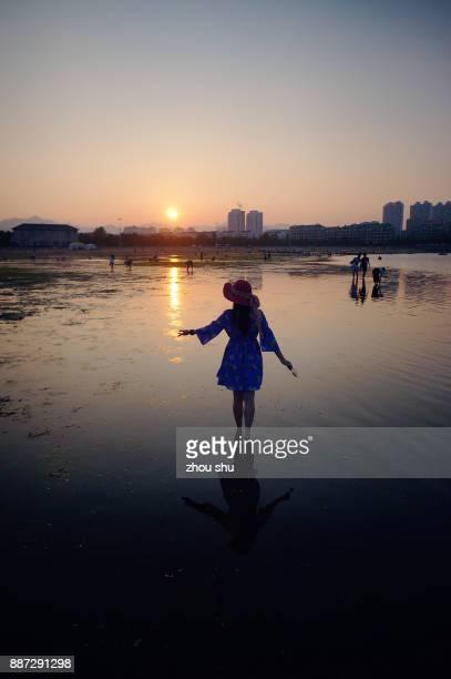 The bay sunset in Weihai