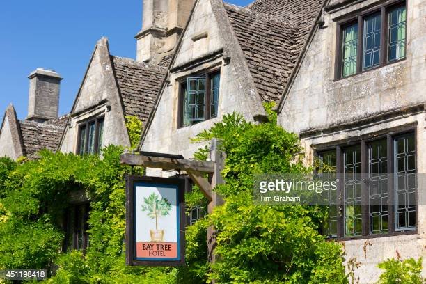 The Bay Tree quaint old pub and hotel with traditional leaded light windows in Burford in The Cotswolds Oxfordshire UK