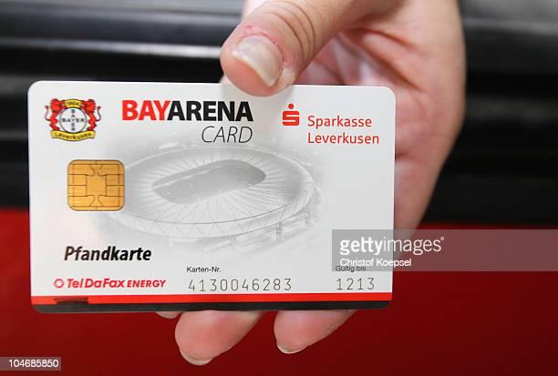 The Bayarena card is seen before the Bundesliga match between Bayer Leverkusen and SV Werder Bremen at BayArena on October 3 2010 in Leverkusen...