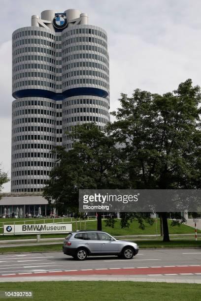 The Bayerische Motoren Werke AG headquarters stand in Munich Germany on Friday Sept 3 2010 Bayerische Motoren Werke AG the world's largest maker of...