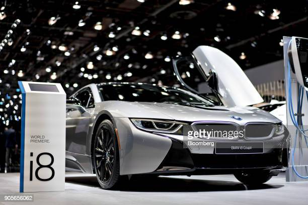 The Bayerische Motoren Werke AG i8 plugin coupe vehicle is displayed during the 2018 North American International Auto Show in Detroit Michigan US on...