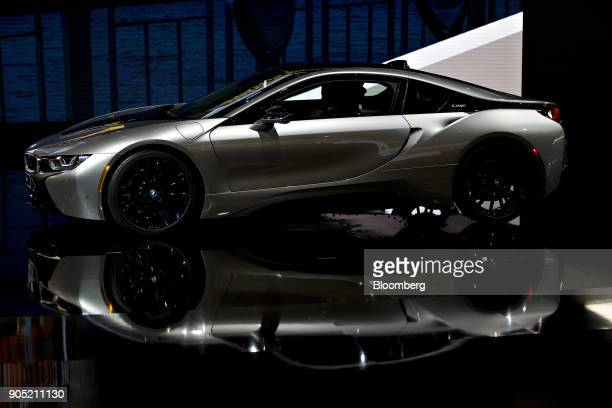 The Bayerische Motoren Werke AG i8 plugin coupe vehicle is unveiled during the 2018 North American International Auto Show in Detroit Michigan US on...