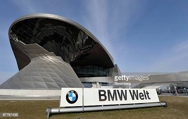 The Bayerischen Motoren Werke AG Welt building site of the company's annual earnings news conference is seen in Munich Germany on Wednesday March 17...
