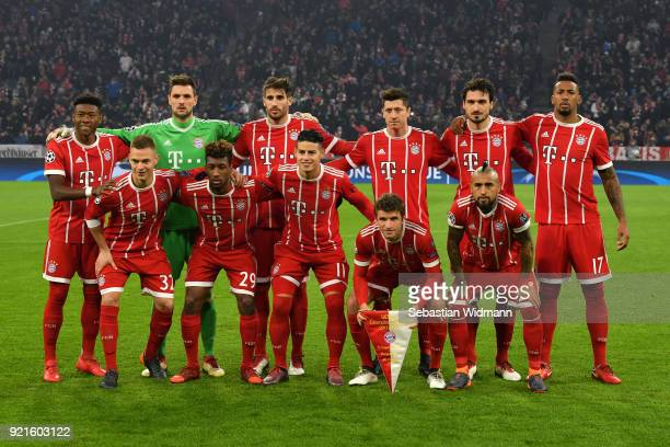 The Bayern Muenchen team line up ahead of the UEFA Champions League Round of 16 First Leg match between Bayern Muenchen and Besiktas at Allianz Arena...