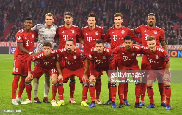 The Bayern Muenchen team line up prior to the UEFA Champions League Group E match of the between FC Bayern Muenchen and AEK Athens at Fussball Arena...