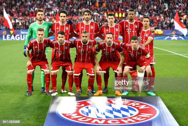The Bayern Muenchen team pose for a team photo prior to the UEFA Champions League Quarter Final Leg One match between Sevilla FC and Bayern Muenchen...