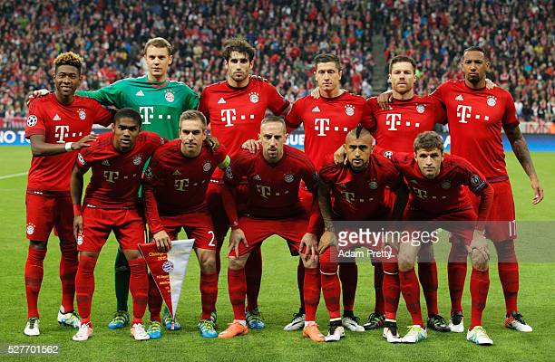 The Bayern Munich team line up prior to UEFA Champions League semi final second leg match between FC Bayern Muenchen and Club Atletico de Madrid at...