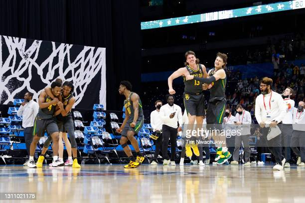 The Baylor Bears celebrate after defeating the Gonzaga Bulldogs 86-70 in the National Championship game of the 2021 NCAA Men's Basketball Tournament...