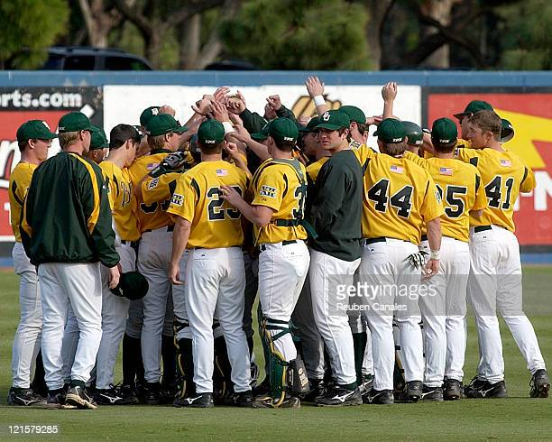The Baylor Bears celebrate as they defeated the Long Beach State Dirtbags 4 to 2 on March 5 2006 at Blair Field in Long Beach California