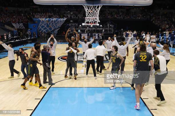 The Baylor Bears celebrate defeating the Gonzaga Bulldogs in the National Championship game of the 2021 NCAA Men's Basketball Tournament at Lucas Oil...