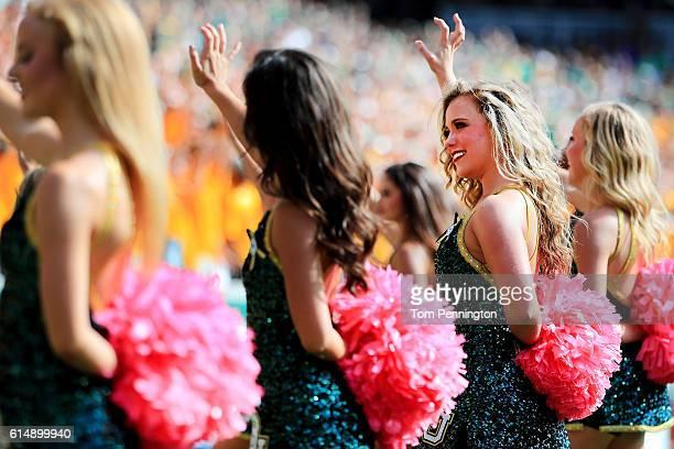 The Baylor Bears cheerleaders perform as the Baylor Bears take on the Kansas Jayhawks on October 15 2016 in Waco Texas