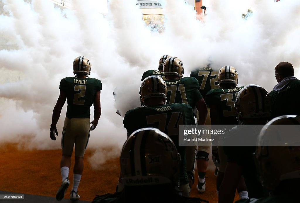 The Baylor Bears enter the field before a game against the Northwestern State Demons at McLane Stadium on September 2, 2016 in Waco, Texas.