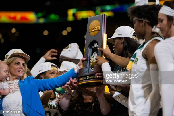 The Baylor Bears hoist the Championship Trophy after winning the NCAA Division I Women's National Championship Game against the Notre Dame Fighting...