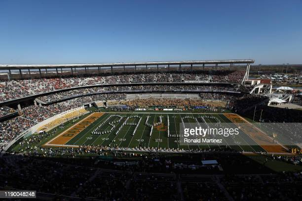 The Baylor Bears marching band performs before a game between the Texas Longhorns and the Baylor Bears at McLane Stadium on November 23, 2019 in...