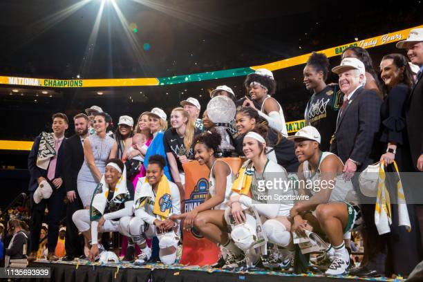 The Baylor Bears pose with the Championship Trophy after winning the NCAA Division I Women's National Championship Game against the Notre Dame...