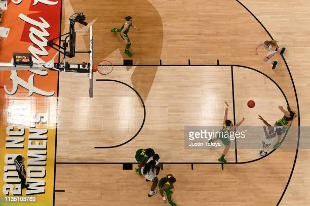 The Baylor Bears take a shot against the Oregon Ducks at Amalie Arena on April 5 2019 in Tampa Florida