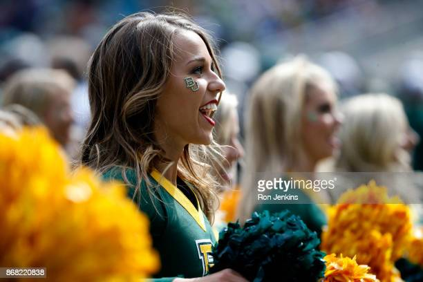 The Baylor cheerleaders perform as Baylor plays the Texas Longhorns in the second half at McLane Stadium on October 28 2017 in Waco Texas Texas won...