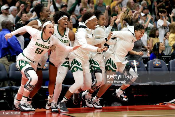 The Baylor Lady Bears celebrate their 82-81 win over the Notre Dame Fighting Irish to win the championship game of the 2019 NCAA Women's Final Four...