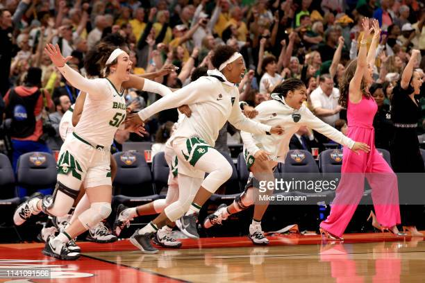 The Baylor Lady Bears celebrate their 8281 win over the Notre Dame Fighting Irish to win the championship game of the 2019 NCAA Women's Final Four at...