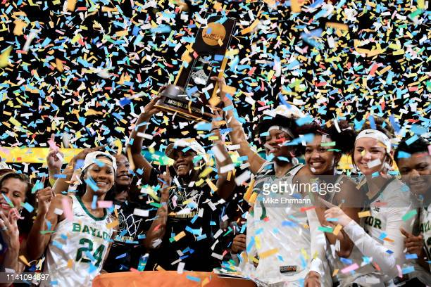 The Baylor Lady Bears celebrate with the NCAA trophy after their teams 8281 win over the Notre Dame Fighting Irish to win the championship game of...