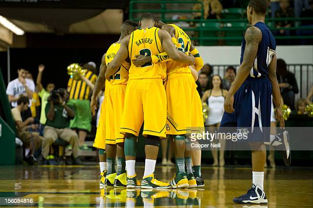 The Baylor University Bears huddle up against the Jackson State University Tigers on November 11 2012 at the Ferrell Center in Waco Texas