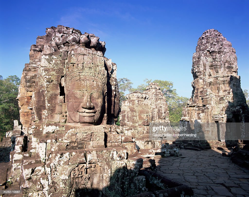 The Bayon and stone faces of Lokesvara, temples of Angkor, UNESCO World Heritage Site, Angkor, Siem Reap Province, Cambodia, Indochina, Southeast Asia, Asia : Foto de stock