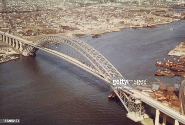 The Bayonne Bridge which links New Jersey to Staten Island over the Kill Van Kull in New York City circa 1960