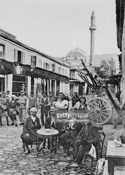 The bazaar in Izmir formerly Smyrna Turkey circa 1920 The mosque in the background has been retouched by hand