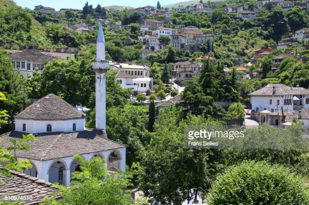 the bazaar mosque in gjirokaster, albania - albania stock-fotos und bilder