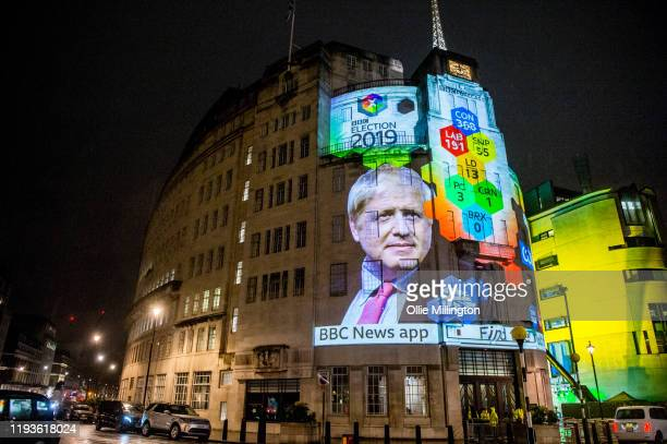 The BBC exit poll result projections on the outside of the entrance of the BBC Broadcast house building showing Britain's current Prime Minister...