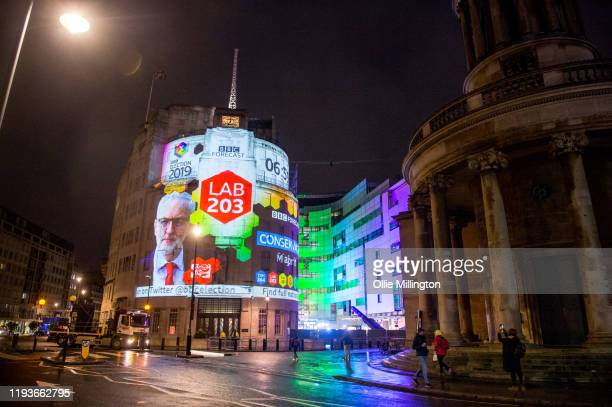 The BBC Forecast final election result projections on the outside of the entrance to the BBC Broadcast house building on December 13, 2019 in London,...