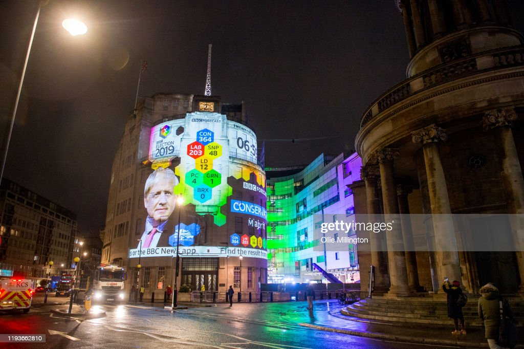 UK Elections Results Are Projected Onto BBC Broadcasting House : News Photo