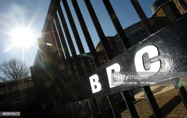 The BBC logo on a gate at BBC Television Centre after it was confirmed the closure of digital radio stations 6 Music and the Asian Network