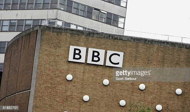 The BBC logo sits on a wall at the BBC headquarters on December 7, 2004 in London, England. About 2,900 jobs are expected to be cut at the British...