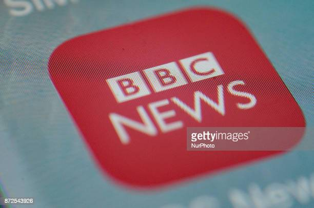 The BBC News application is seen on an iPhone on November 10 2017