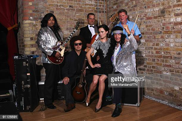 The BBC news team and Mara Carlyle pose ahead of their performance at the Newsroom�s Got Talent event held in aid of Leonard Cheshire Disability and...
