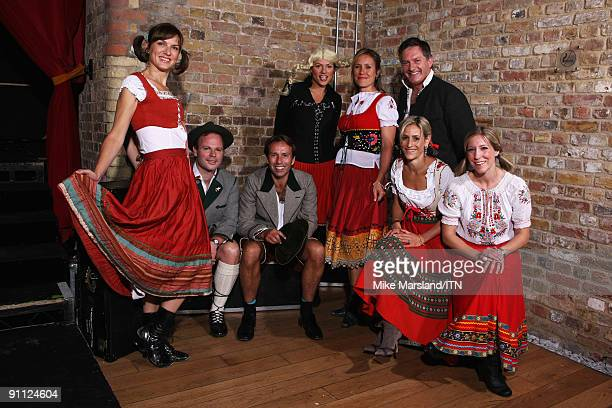 The BBC news team poses ahead of their performance at the Newsroom�s Got Talent event held in aid of Leonard Cheshire Disability and Helen Douglas...