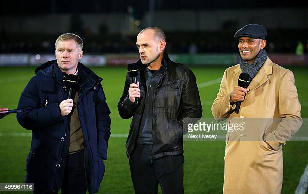 The BBC pundits Paul Scholes part owner of Salford City and former players Danny Murphy and Trevor Sinclair talk prior to the Emirates FA Cup Second...