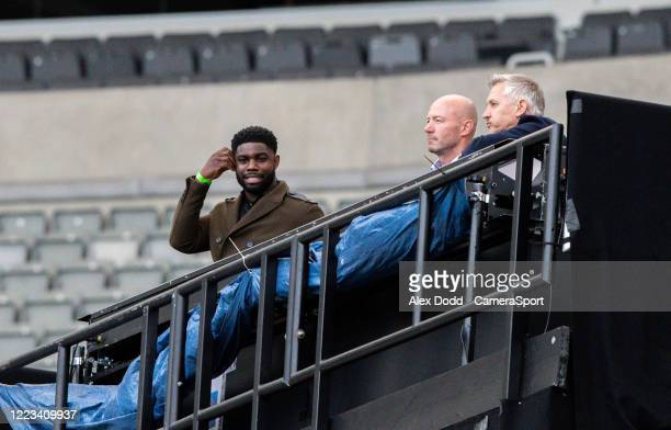 The BBC team of Micah Richards, Alan Shearer and Gary Lineker watch on during the FA Cup Quarter Final match between Newcastle United and Manchester...