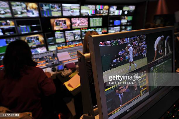 The BBC television edit suite showing all the tennis courts is pictured on the sixth day of the 2011 Wimbledon Tennis Championships at the All...