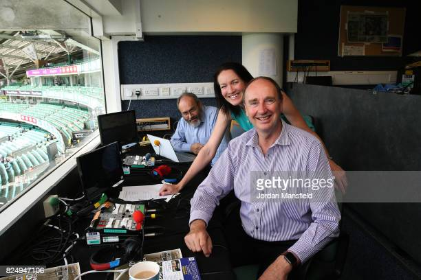 The BBC Test Match Special commentary team of Jonathan Agnew Alison Mitchell and Andrew Samson pose for a photo during day five of the 3rd Investec...