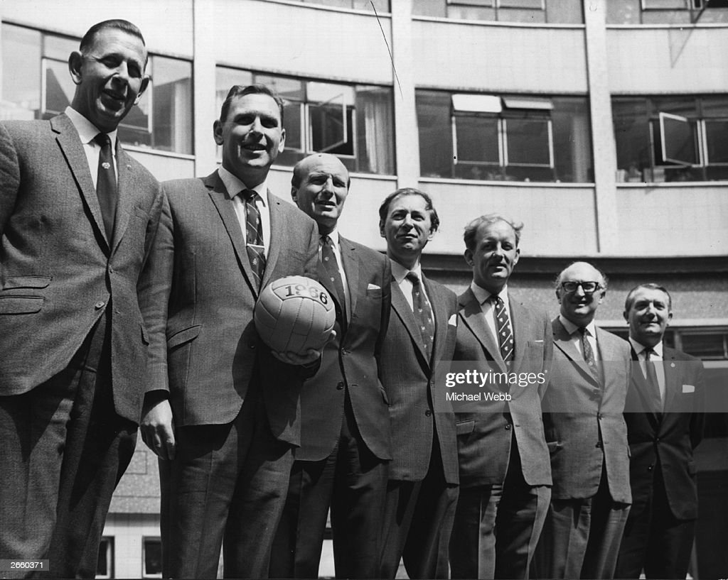 The BBC World Cup commentary team, 31st May 1966: (left to right) Ken Aston, Kenneth Wolstenholme (1920 - 2002), Wally Barnes, David Coleman, Frank Bough, Alan Weeks and Arthur Ellis.