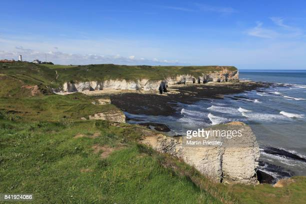 The beach and cliffs at Selwicks Bay, Flamborough, East Yorkshire, UK