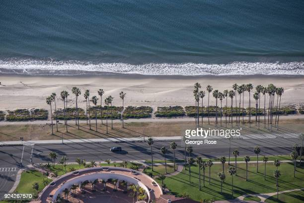 The beach and palm trees along Shoreline Drive are viewed in this aerial photo on February 23 in Santa Barbara California A combined series of...