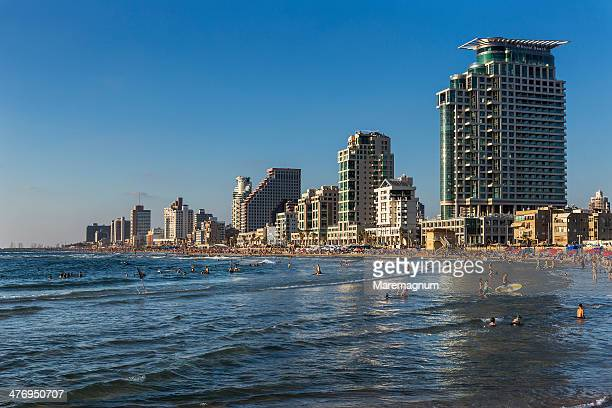 the beach and the town from jaffa - tel aviv stock pictures, royalty-free photos & images