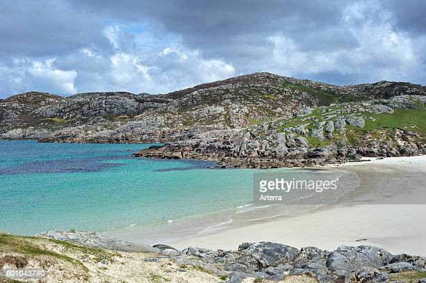 The beach at Achmelvich Bay near Lochinver Highlands Scotland